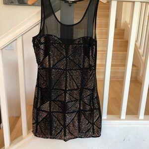 Black bronze gold & black sequin sheer top dress